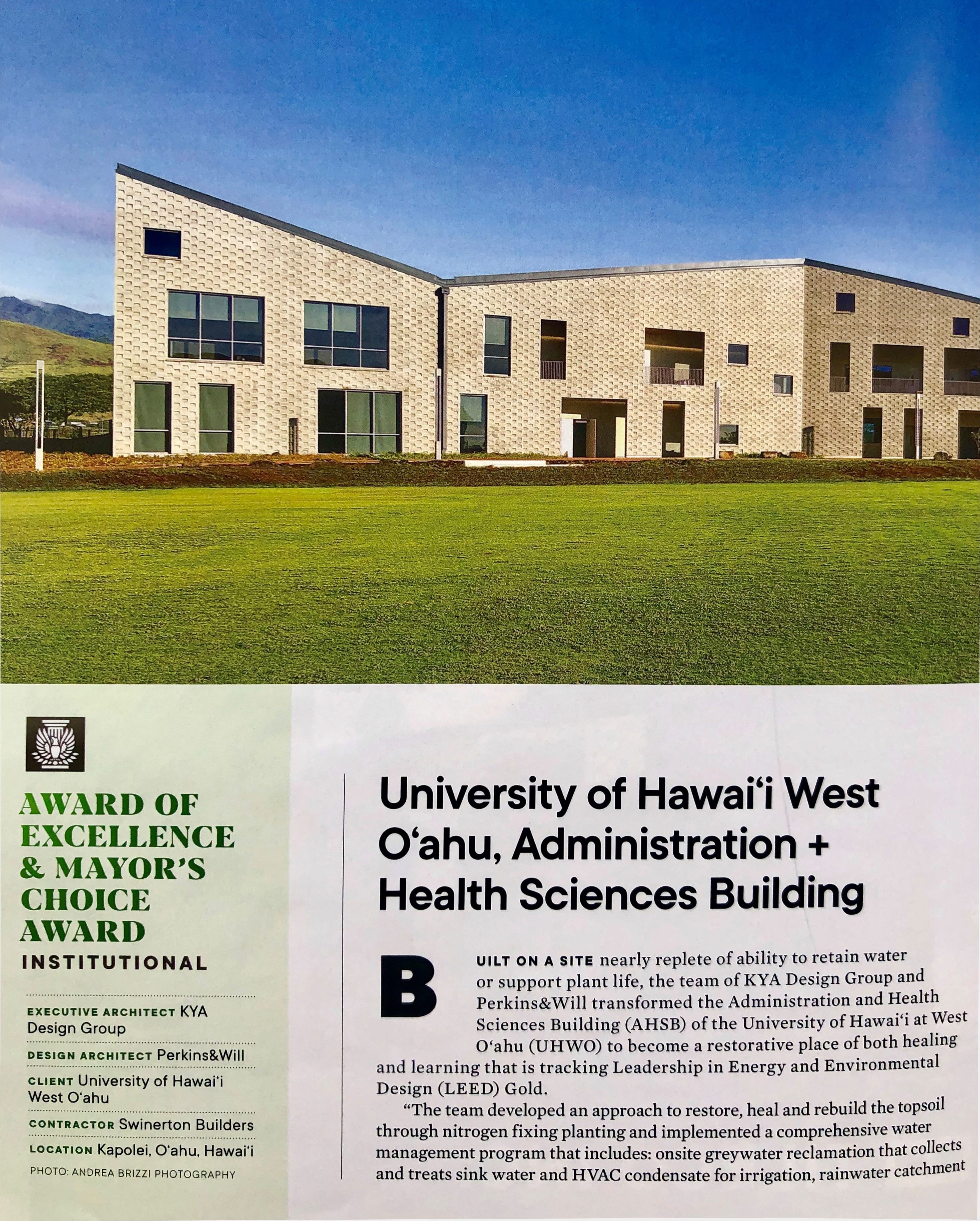 The 2019 AIA Design Awards: Award of Excellence goes to KYA's UH West Oahu, Administration + Health Sciences Building